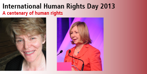 Picture of two speakers from Int Human Rights Day 2013, Hilary CHarlesworth AM and Helen Watchirs OAM