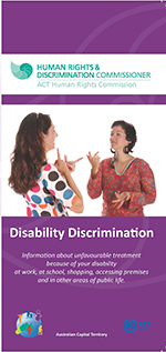 Cover of Disability Discrimination brochure featuring two women using sign language
