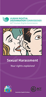 Photo of front of Sexual Harassment brochure with woman whispering to man