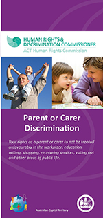Picture of cover of Parent or Carer discrimination brohure, with photos of a man holding a small boy above his head and a mother and daughter doing homework