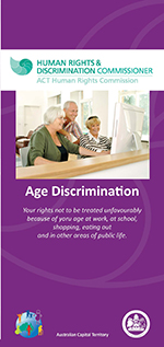 Age Discrimination Brochure cover featuring a picture of a group of people around a computer screen