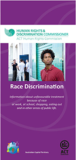 Front cover of race discrimination brochure including picture of a number of men with different skin colours