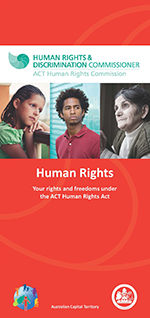 Cover of Human Rights Act brochure feature photos of a young girl, a young man and an older woman