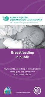 Picture of brochure cover on breastfeeding in public including picture of baby breastfeeding