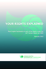 Cover image of factsheets, with words 'your rights explained' and the Human Rights Commission Logo