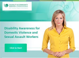 Disability Awareness slide with woman wearing yellow top